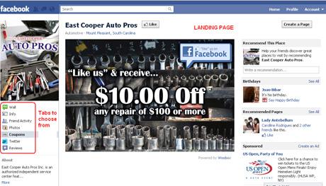 Facebook Landing Page Screenshot