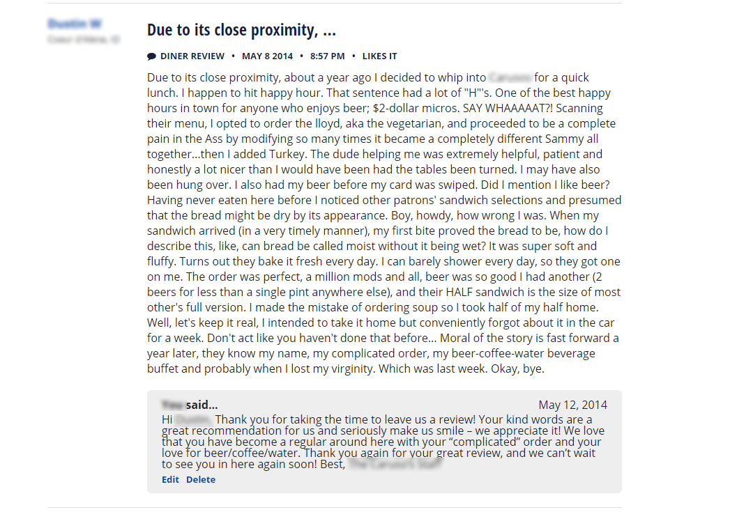 funniest reviews of Yelp
