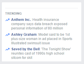 Facebook shows a list of trending post topics.