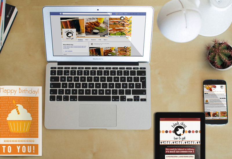facebook idea for cafes, cafe email marketing for cafe, direct mail marketing for cafe, birthday program