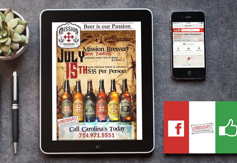 marketing portfolio example for brew pub, email marketing newsletter, yelp example, facebook promotional material