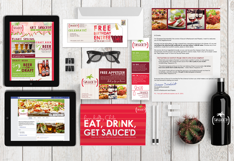 restaurant marketing examples, birthday direct mail, new resident direct mail, email collection card, Facebook page example, email marketing newsletter