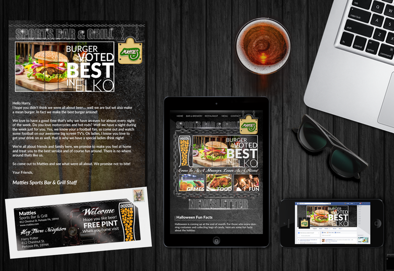 email newsletter for bars, new resident letter, facebook page example for bars
