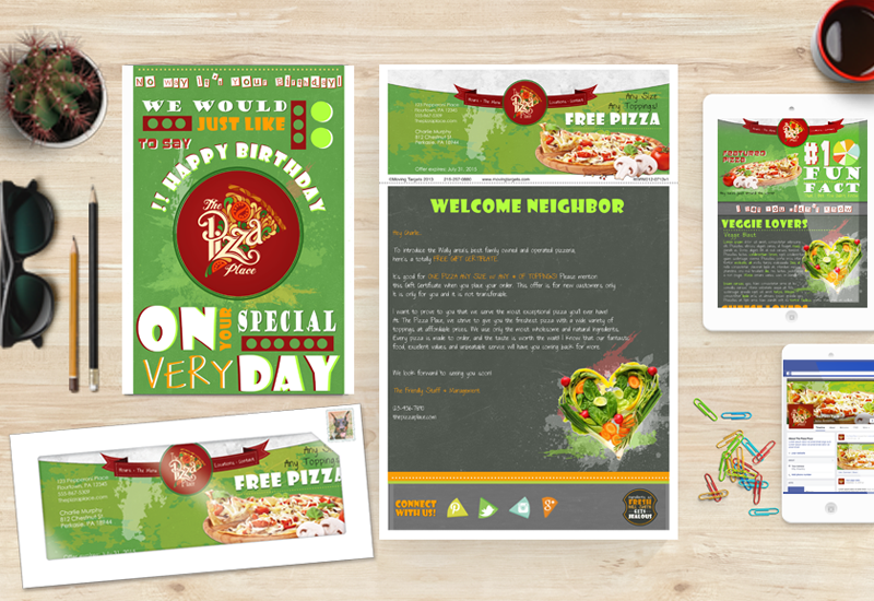 birthday card direct mail for pizza shop, new resident direct mail letter, email marketing promo for pizzeria, facebook mockup iphone