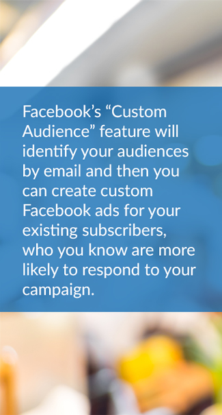 "Lead generation with email and social: On Facebook, you can select 'Create Ads' from the main drop down menu at the top right of every page. From there you can click 'Create a Custom Audience' and upload a CSV of your newsletter subscriber's email addresses."" Facebook's ""Custom Audience"" feature will identify your audiences by email and then you can create custom Facebook ads for your existing subscribers, who you know are more likely to respond to your campaign."