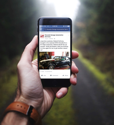 Auto shop facebook post example