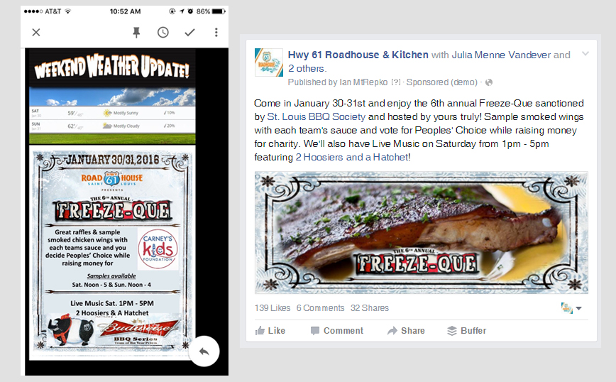 Facebook Lead Gen example restaurants